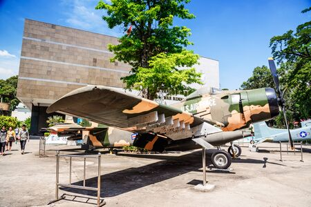 2 november: HO CHI MINH CITY, VIETNAM - NOVEMBER 2,2015:  An American helicopter in the forecourt of the War Remnants Museum, on 2 November 2015, in Ho Chi Minh City, Vietnam