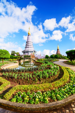 phon: Landscape of two pagoda, place leisure travel in an Inthanon mountain, Chiang Mai, Thailand.