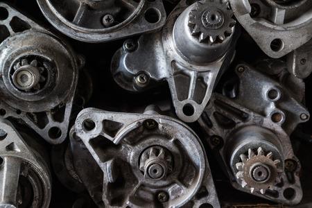 electromechanical: Old starter motor car on shelf