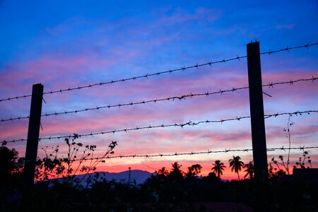 prison yard: Close-up of Barbed wire against sunset sky background. Stock Photo