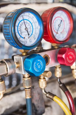 Refrigerator pressure gauges, manometers,quipment Measure of Air Conditioner Stock Photo