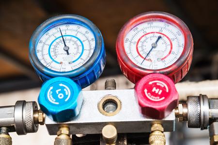 Refrigerator pressure gauges, Selective focus.