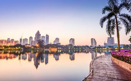 benjakitti: Bangkok Building with Reflection at sunrise, Benjakiti Park ,Thailand.
