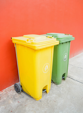 wheelie: Large green and yellow wheelie bins for Recycle Materials