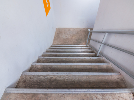 crack climb: Cement stairs in building Stock Photo