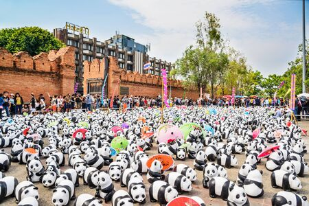 wwf: Chiang Mai, Thailand - March 19, 2016 : 1600 Pandas World Tour in Thailand at Tha Phae Gate in Chiang Mai. Made from recycled materials, Campaign by WWF for promoting animal preservation in Thailand.