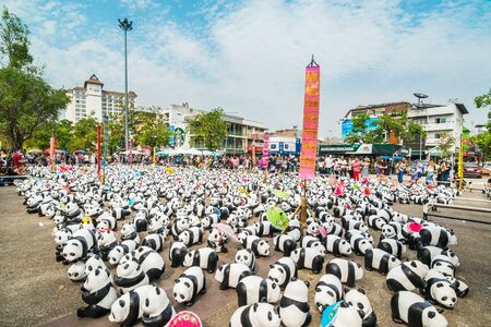 tha: Chiang Mai, Thailand - March 19, 2016 : 1600 Pandas World Tour in Thailand at Tha Phae Gate in Chiang Mai. 1600 paper marche pandas are made from recycled materials, Campaign by WWF for promoting animal preservation in Thailand.