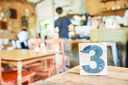 tabletop: Wood queue on tabletop of restaurant and coffee shop
