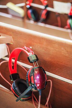 christian altar: Headphone and seats in church.