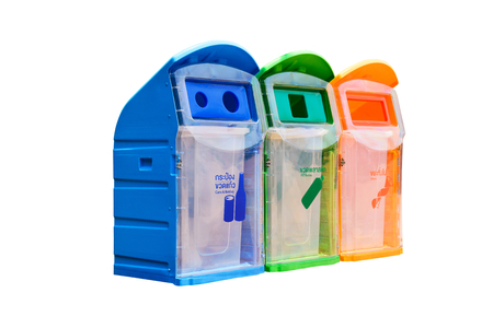 segregate: Three plastic trash bins, recycle bins - Cans and Bottles, PET bottles and Others