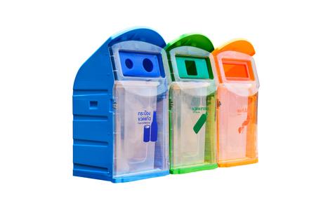 botellas pet: Tres contenedores de basura de plástico, papeleras de reciclaje - latas y botellas, botellas PET y Otros