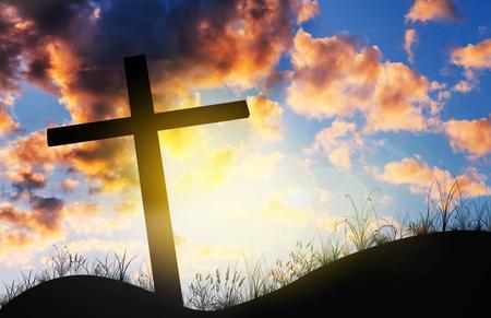 holy thursday: Cross on sunset, Concept conceptual black cross, Gospel concept.