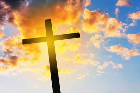 christianity palm sunday: Cross on sunset, Concept conceptual black cross, Gospel concept.