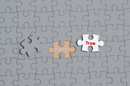 true or false: Many puzzles with word False and one puzzle with a word True, Concept for change.
