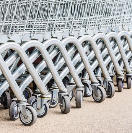 carrefour market: close up shopping cart outside the shop