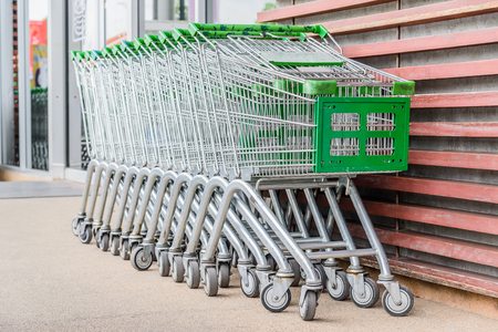 carrefour: shopping cart outside the shop
