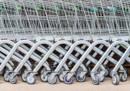 carrefour: close up shopping cart outside the shop