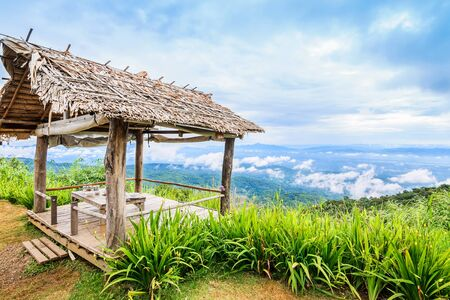 locality: Bamboo huts on hill at view point, Mon Cham hill, Chiang Mai, Thailand