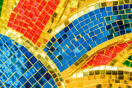 architectural styles: Art mosaic glass or seamless glass mosaic on the wall, glass mosaic background. Stock Photo