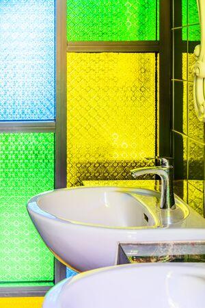 wash basin: Wash basin in the toilet Stock Photo