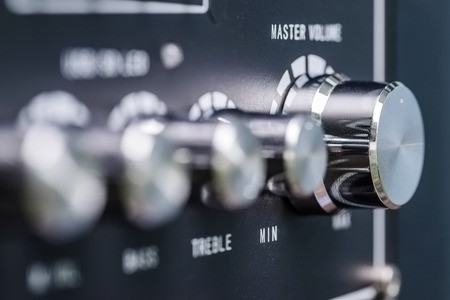 knobs: Volume knobs for microphone Stock Photo