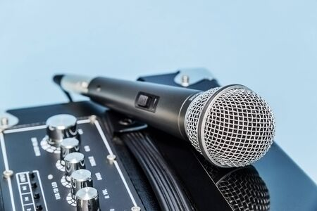 Close up microphone and amplifier. Stock Photo