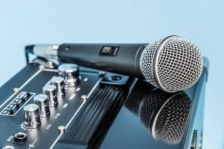 amplifier: Close up microphone and amplifier. Stock Photo