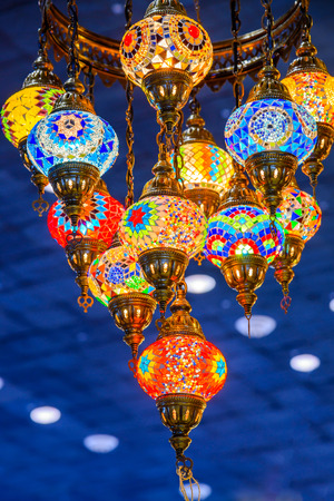 Abstract colorful arabic lamps illuminated Stock Photo
