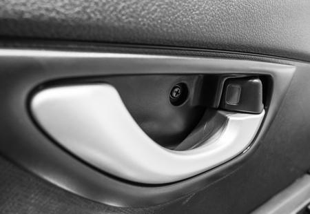 Car Door Handle Closeup , Car Door Inside With Door Handle. Stock ...