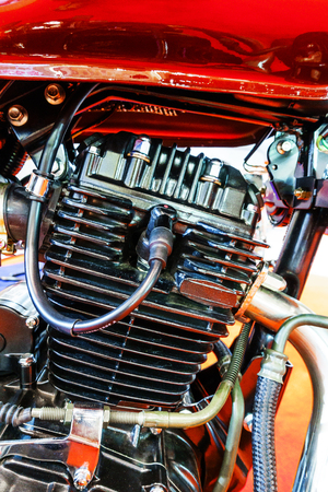 Spark plug on motorcycle apparel, Close up motorcycle spark plug