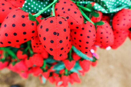 Keychain made of cloth, colourful strawberries from cloth
