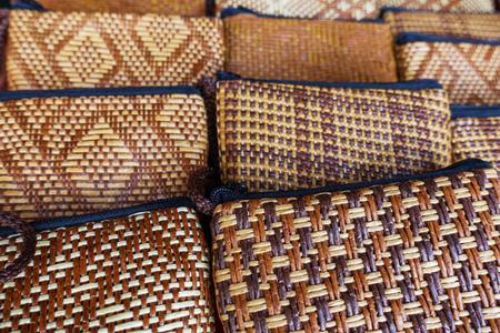 Woven bag background, handicraft works from basketry, Handicraft background.
