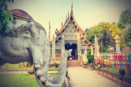 molee: Old wooden church in Chiangmai, Thailand. Vintage filter effect.