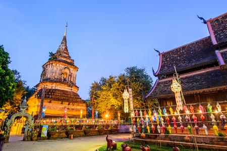 molee: Wat Lok Molee Temple,  Old wooden church in Chiangmai, Thailand.