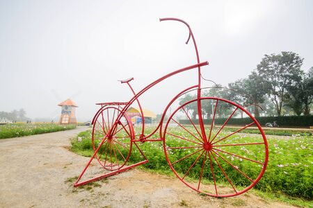 CHIANG MAI, THAILAND - DECEMBER 21: Cosmos flower field , wind turbine and big bike in the garden, Being decorated for tourism in winter, Chiang Mai ,Thailand in December 21, 2016. Editorial