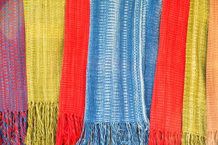 Close up detail of hand woven scarf texture Stock Photo