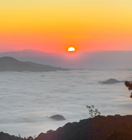 Morning sunrise over mist , Huai Nam Dang National Park, Chiang Mai, Thailand, landscape, travel and nature concept