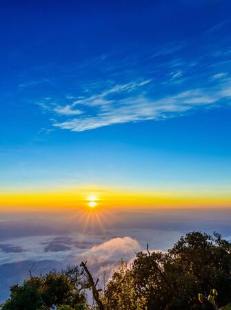 Morning mist and sunrise on Doi Luang Chiang Dao, Chiang Mai ,Thailand.
