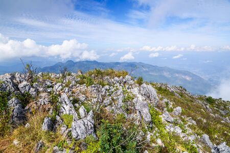 Sharp of rock of Chiang Dao Mountain ; Chiang Mai; Thailand.  Landscape at the Southern of Himalayan range in Asia on the highest point of Mt. Chiang Dao; Chiang Mai; Thailand. Stock Photo