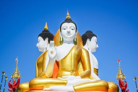 Four faces of buddha sculpture in Chiang Mai, Thailand. Stock Photo