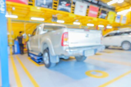 blur image of auto repair service station for background usage. Stock Photo