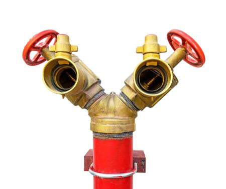 fire hydrant, red and golden. Fire hose 2 heads on white background Stock Photo