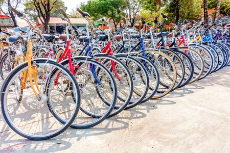 TAK, THAILAND - APRIL 5, 2017: large numbers of bicycles are parked near the Station. Parking space for bicycles is limited due to large scale construction works.