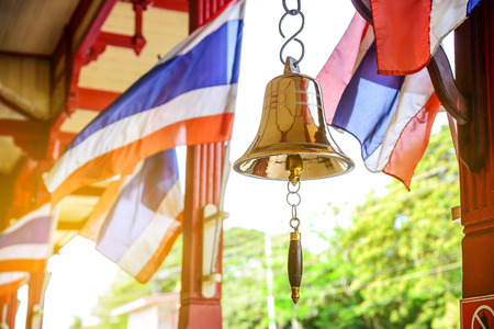 hua: Goldden bell at hua hin railway station is a famous place in Thailand. Selective focus.