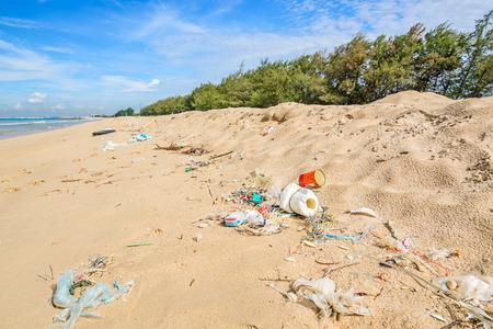 detritus: Pollution on the beach of tropical sea. Stock Photo