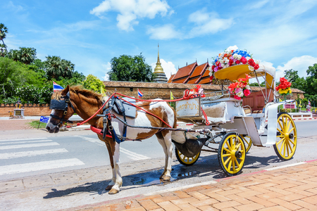 Horse carriage at Phrathat Lampang Luang temple in Lampang, Thailand