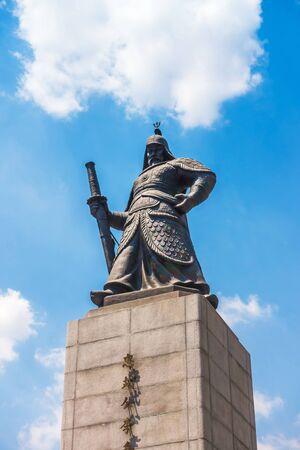 SEOUL, SOUTH KOREA - MAY 27, 2017: The statue of Yi Sun-Shin outside of Gyeongbokgung Palace in Seoul, South Korea.