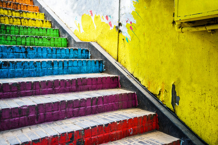 Colorful stairs in the street, Seoul in South Korea.