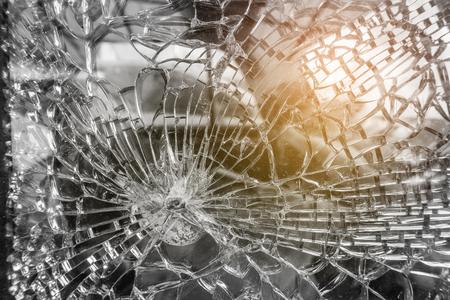 Broken Car Glass Window, selective focus close-up.