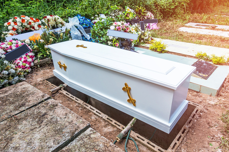 coffin prepare to put in the hole
